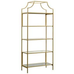 Sauder International Lux 5 Shelf Bookcase in Satin Gold | Walmart (US)