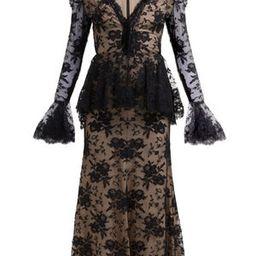 Sarabande-lace V-neck peplum dress | Matchesfashion (Global)