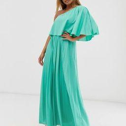 ASOS DESIGN Petite one shoulder pleated crop top maxi dress   ASOS US