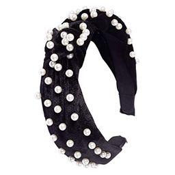 Somewhere Haute Velvet Top-knot Pearl Embellished Headband (Beige) | Amazon (US)