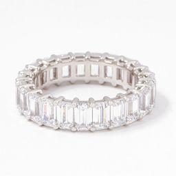 Diamonique Silver Choice Of Cut Eternity Band Ring, Platinum Clad | QVC