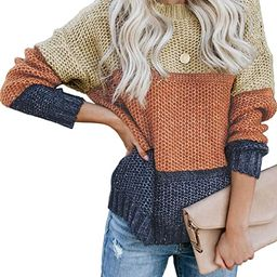 Tiksawon Womens Color Block Striped Oversized Crew Neck Sweaters Pullover Fashion Long Sleeve Loo...   Amazon (US)