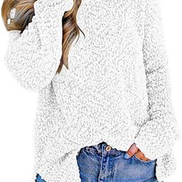 Imily Bela Womens Fuzzy Knitted Sweater Sherpa Fleece Side Slit Full Sleeve Jumper Outwears   Amazon (US)