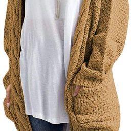Traleubie Women's Open Front Long Sleeve Boho Boyfriend Knit Chunky Cardigan Sweater   Amazon (US)