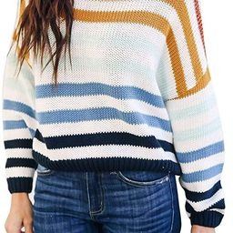 cordat Women Sweaters Long Sleeve Crew Neck Color Block Striped Oversized Casual Knitted Pullover...   Amazon (US)