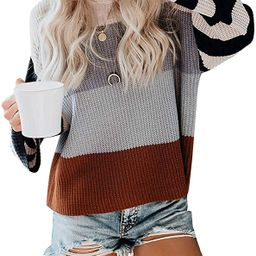 MEROKEETY Women's Crew Neck Long Sleeve Color Block Knit Sweater Casual Pullover Jumper Tops   Amazon (US)