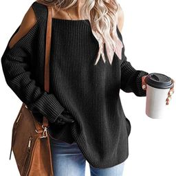 MaQiYa Womens Cold Shoulder Oversized Pullover Sweaters Fall Casual Batwing Sleeve Chunky Knitted...   Amazon (US)