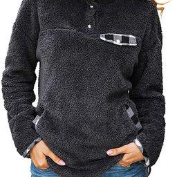 KIRUNDO Women's Fashion High Collar Long Sleeves Sweaters Plaid Print Fleece Button Down Short ...   Amazon (US)