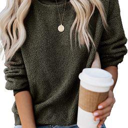 Shawhuwa Women's Casual Crewneck Long Sleeve Fleece Pullover Sweatshirts Solid Color Fuzzy Warm O...   Amazon (US)