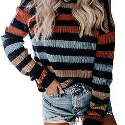 KIRUNDO Women's Strip Color Block Short Sweater Long Sleeves Stitching Color Round Neck Loose P...   Amazon (US)