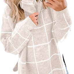 ECOWISH Women Pullover Sweater Turtleneck Plaid Long Sleeve Loose Casual Chunky Checked Knitted W...   Amazon (US)