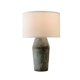 Troy Artifact Moonstone Table Lamp With Linen Shade Ptl1005   Bellacor   Bellacor
