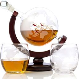 Whiskey Globe Decanter Set Etched World Globe Decanter for Liquor, Bourbon, Vodka with 2 Glasses ...   Amazon (US)