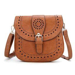 Forestfish Ladie's PU Leather Vintage Hollow Bag Crossbody Bag Shoulder Bag | Amazon (US)