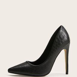 Point Toe Embossed Stiletto Heels | SHEIN
