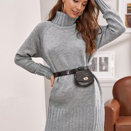 Turtleneck Raglan Sleeve Sweater Dress Without Bag | SHEIN