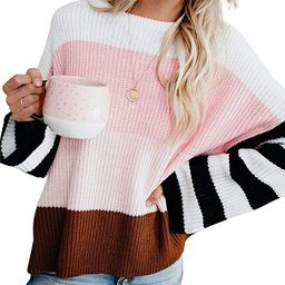 cordat Womens Casual Crew Neck Color Block Oversized Lightweight Sweater Long Sleeve Knit Pullove...   Amazon (US)