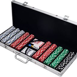 Poker Chip Set for Texas Holdem, Blackjack, Gambling with Carrying Case, Cards, Buttons and 500 D...   Amazon (US)
