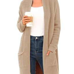 QIXING Women's Casual Open Front Knit Cardigans Long Sleeve Plush Sweater Coat with Pockets   Amazon (US)