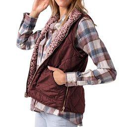 AKEWEI Womens Sherpa Fleece Zipper Vest Warm Outwear with Pockets | Amazon (US)