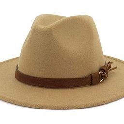 JasWell Women Large Wide Brim Felt Wool Fedora Hat with Belt Buckle | Amazon (US)