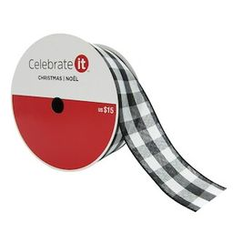 """2.5"""" Wired Checker Ribbon by Celebrate It™ Christmas 
