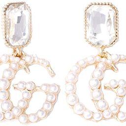 Women's Fashionable Pearl Earrings, Alloy Letters G and F Earrings | Amazon (US)