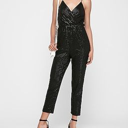striped sequin wrap front cami jumpsuit   Express
