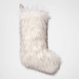 "21"" x 8"" Christmas Faux Fur Stocking White/Gray - Threshold™ | Target"