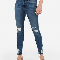 mid rise ripped raw hem jean ankle leggings | Express