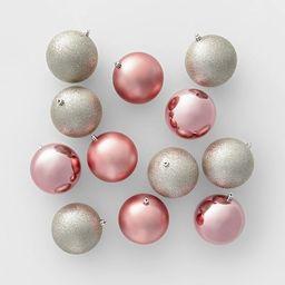 12ct 100mm Shatter Resistant Christmas Ornament Set Champagne Blush - Wondershop™   Target