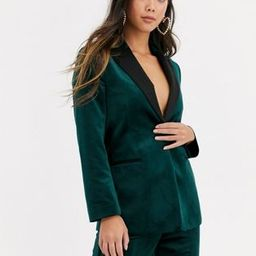 ASOS DESIGN Petite velvet tux suit blazer in forest green   ASOS US