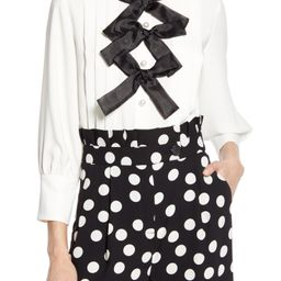 Halogen® x Atlantic-Pacific Bow Front Pleated Blouse (Nordstrom Exclusive)   Nordstrom   Nordstrom