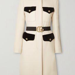 Belted velvet-trimmed wool coat | Net-a-Porter (US)