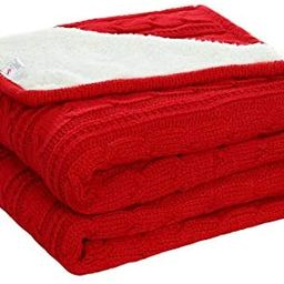 Amazon.com: uxcell Cable Knit Throw Blanket 50 Inches X 60 Inches Red - All Season Soft Reversibl... | Amazon (US)