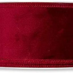 FloristryWarehouse Burgundy Red Christmas Velvet Fabric Ribbon 2 inches Wide on 9 Yards roll. Wir... | Amazon (US)