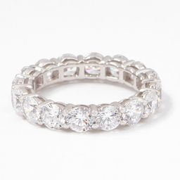 Diamonique Silver Choice Of Cut Eternity Band Ring, Platinum Clad   QVC