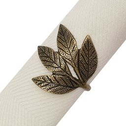 Rustic Leaves Napkin Ring in Gold | Bed Bath & Beyond