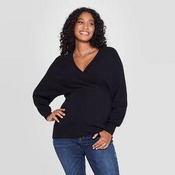 Maternity Long Sleeve Wrap Pullover - Isabel Maternity by Ingrid & Isabel™ Black | Target