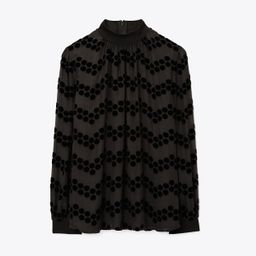Tory Burch Velvet Devoré Dot Embroidered Top: Women's Clothing | Tory Burch (US)