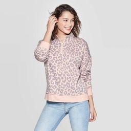 Women's Leopard Print Long Sleeve 1/4 Zip Sweatshirt - Grayson Threads (Juniors') - Pink   Target