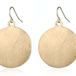 HONGYE Brushed Gold Silver Rose Gold Colored Round Disc Shaped Drop Earring Hook Earring | Amazon (US)