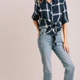 Jada Plaid Tie Front Shirt | Morning Lavender