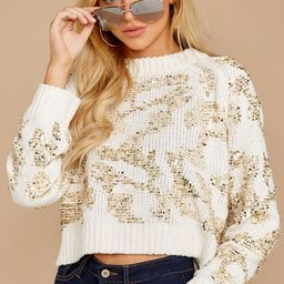 Stay Classy Cream And Gold Sequin Sweater | Red Dress