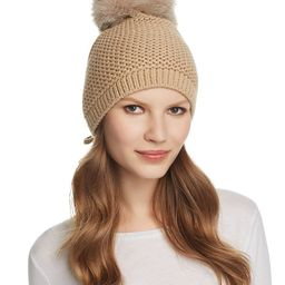 Slouchy Hat with Fox Fur Pom-Pom - 100% Exclusive   Bloomingdale's (US)