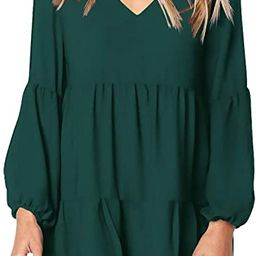 Women Summer Tunic Dress V Neck Casual Loose Flowy Swing Shift Dresses | Amazon (US)