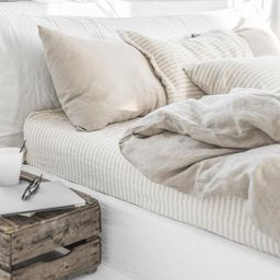 Linen bedding set in Natural Linen (Oatmeal) color (duvet cover + 2 pillowcases). US King, Queen. | Etsy (CAD)