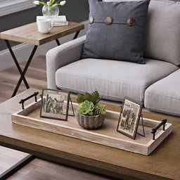Wooden Decorative Tray With Metal Handles | Kirkland's Home