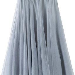 Tulle Skirt for Women Skirts Midi Length Tulle Skirt A-Line Knee Length Skirt High Waist Princess... | Amazon (US)