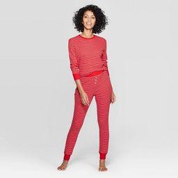 Women's Striped Thermal Sleep Pajama Set - Stars Above™ Red   Target